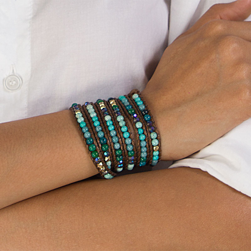 Anika - Extra Long Thai Wrap Bracelet with Natural Stones