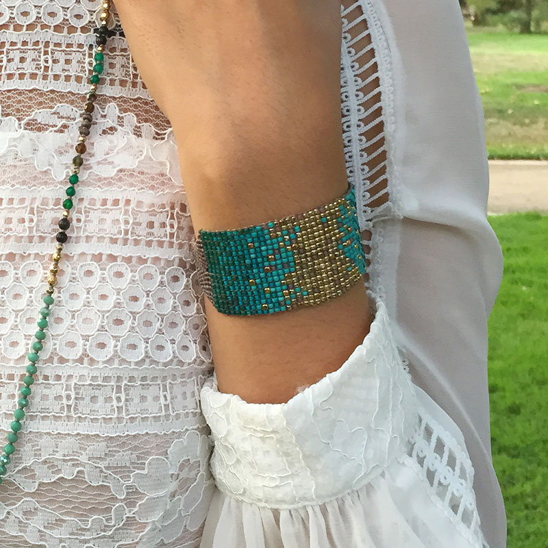 Callie - Flexible Beaded Cuff with Brass Accents