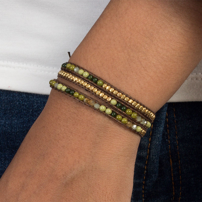 Casey - Brass and Stone Wrap Bracelet