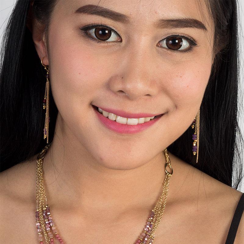 Chloe - Chain and Stone Dangle Earrings