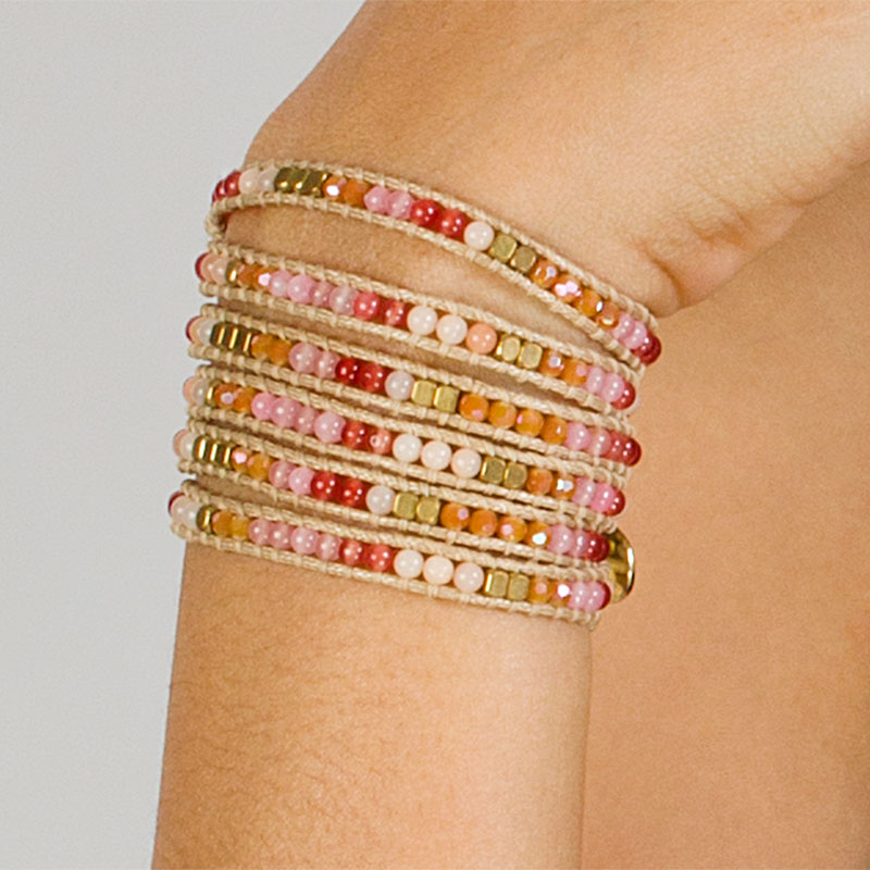 Miri - Extra Long Crystal and Stone Wrap Bracelet