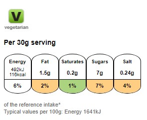 Nutritional information for Cookie Crisp Chocolatey Chip Cookie Cereal 375g at Savecoonline.com
