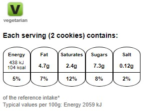 Nutritional information for Maryland choc chip cookies twin pack 290g at Savecoonline.com