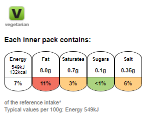 Nutritional information for Walkers ready salted 25g at Savecoonline.com
