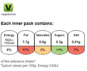 Nutritional information for Walkers salt and vinegar 25g at Savecoonline.com