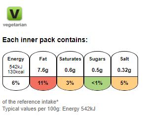 Nutritional information for Walkers prawn cocktail 25g at Savecoonline.com
