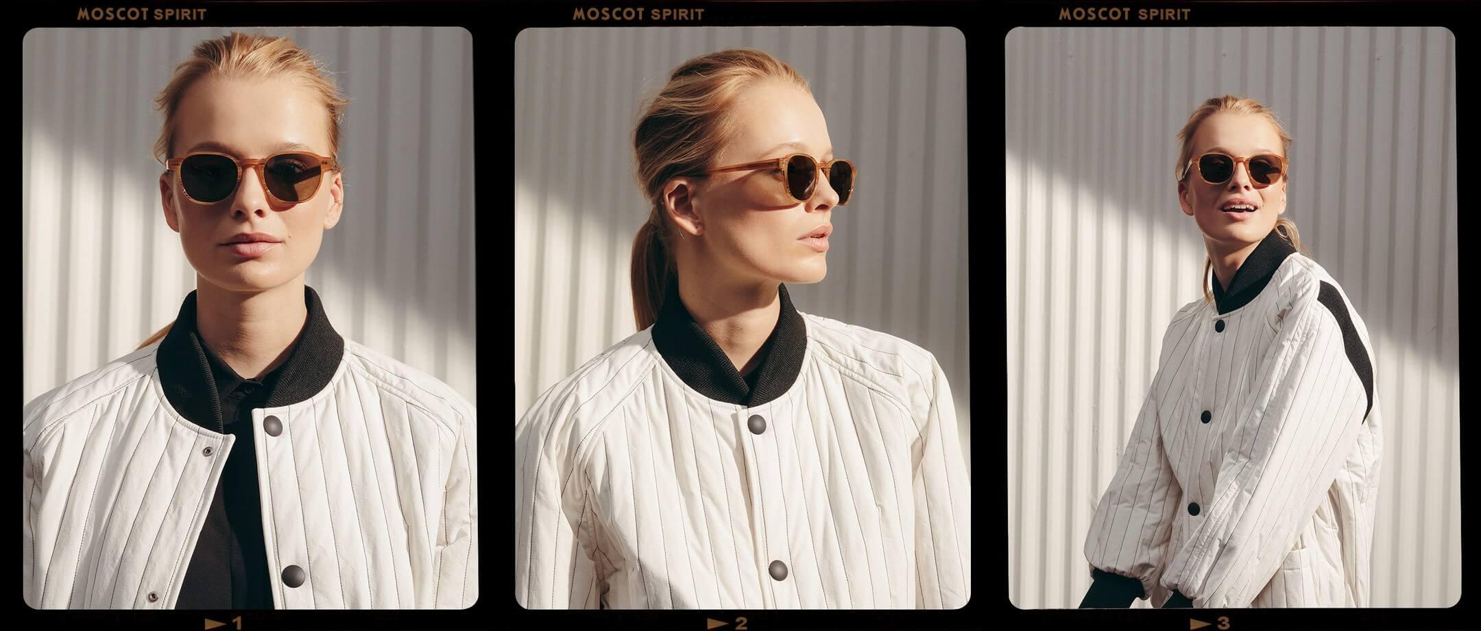 Model is wearing The ARTHUR SUN in size 50 in Blonde.