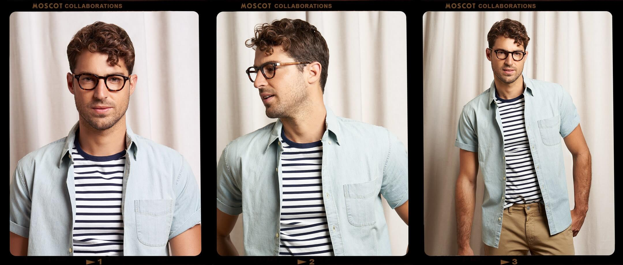 Model is wearing The MOSCOT + Ascari LEMTOSH LE in 46 in Tortoise/Leather.