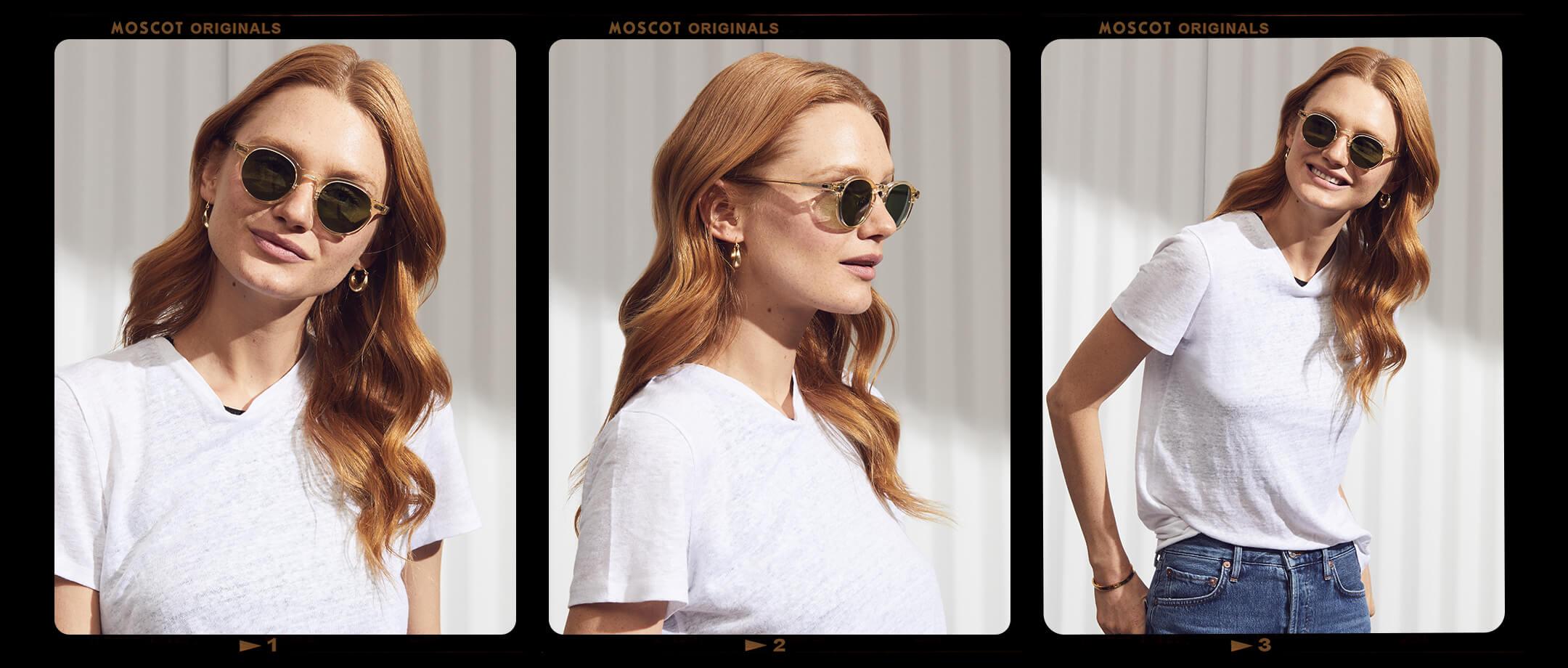 Model is wearing The MILTZEN SUN W/ Metal Nose Pads in size 46 in Flesh.
