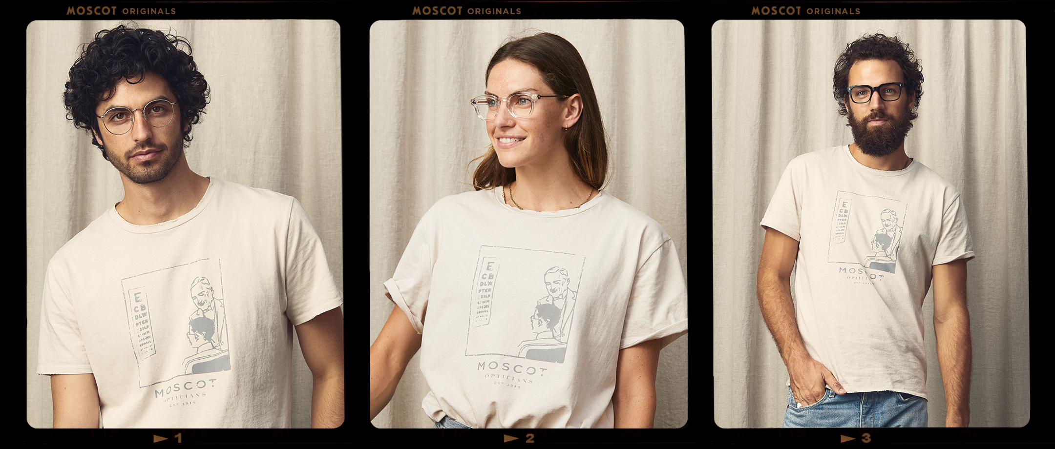 Models are wearing The MOSCOT TEE in size Medium.
