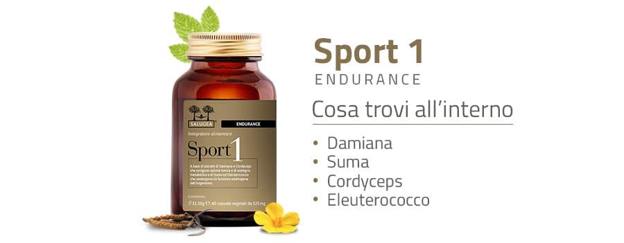 Ingredienti di Sport 1 Endurance Salugea, Integratore per la Resistenza Muscolare