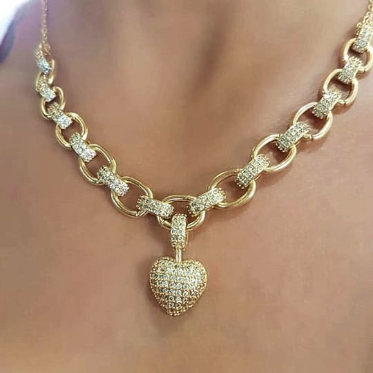 Corrente Banhada a Ouro 18K - Coração