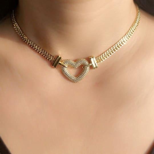 Gargantilha Banhada a Ouro 18K - Coração
