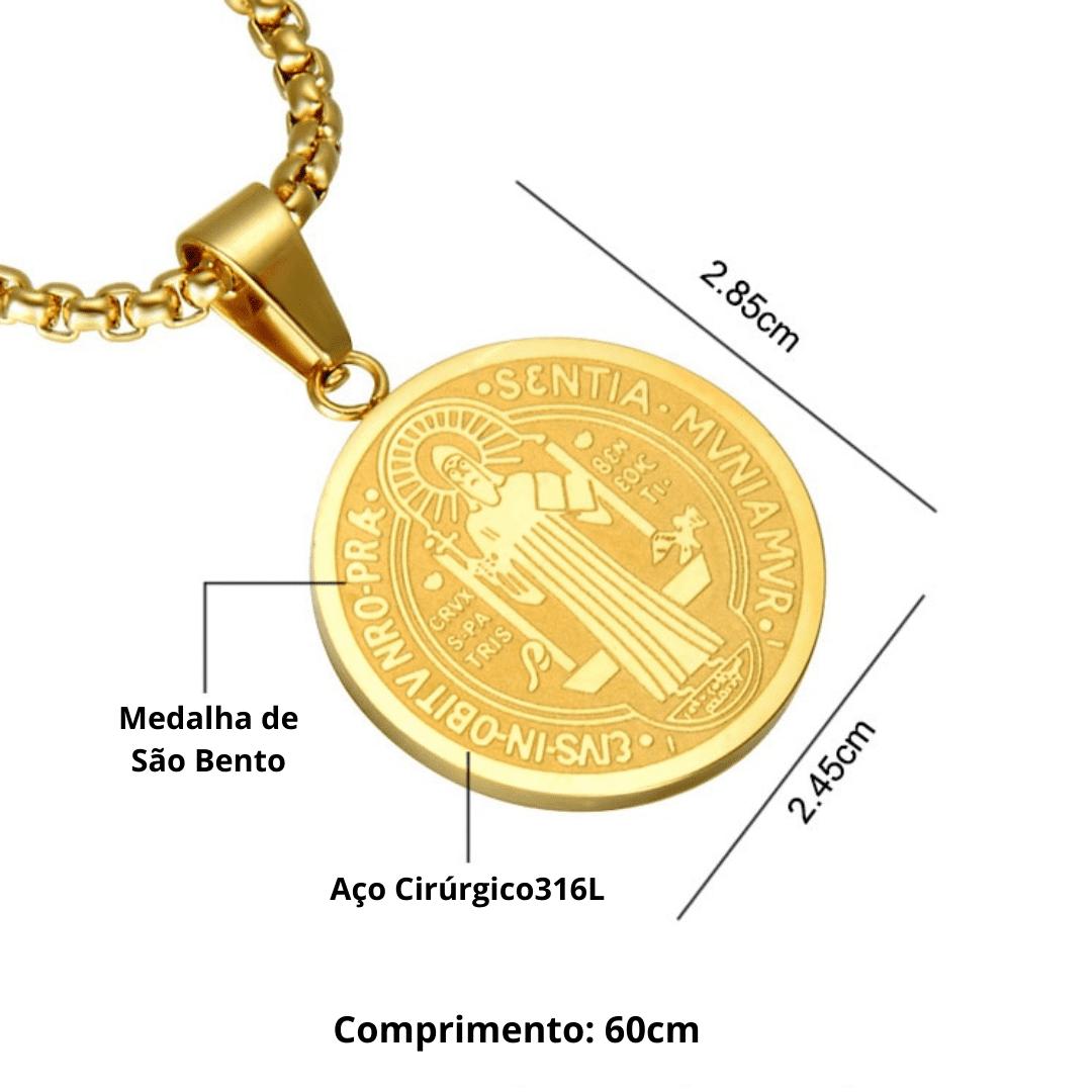 Conjunto Santo Protetor - Corrente e Anel de São Bento em Aço Inoxidável