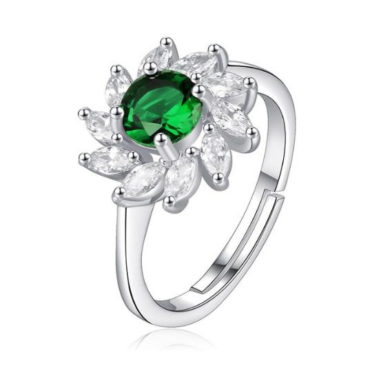 """Conjunto """"Emerald Flower"""" - Banhado a Prata Esterlina 925, cravejada com esmeraldas e cristais"""