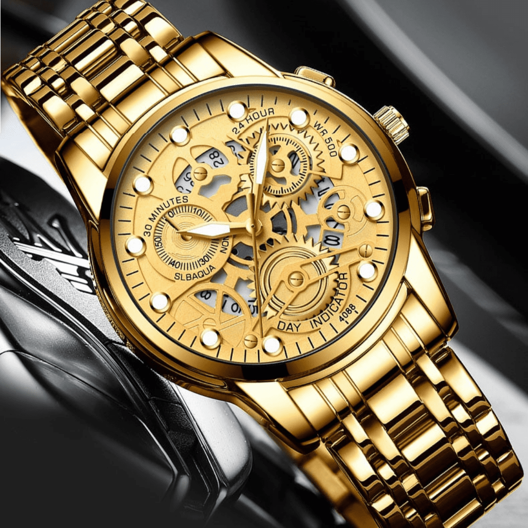 """Relógio Premium - """"Golden King"""" em Aço Inoxidável"""