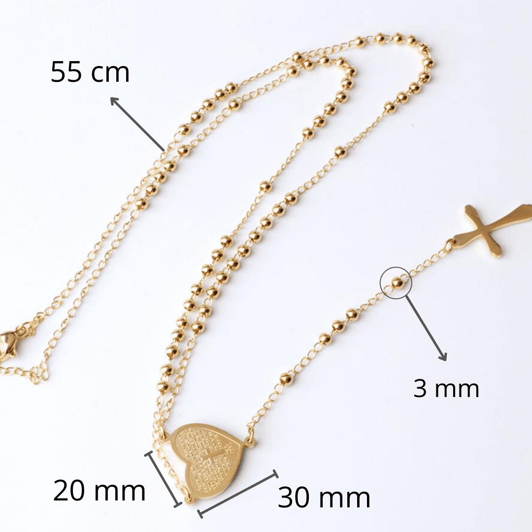 """Colar Terço Coração de Maria"""" - Banhado a ouro 18k"""