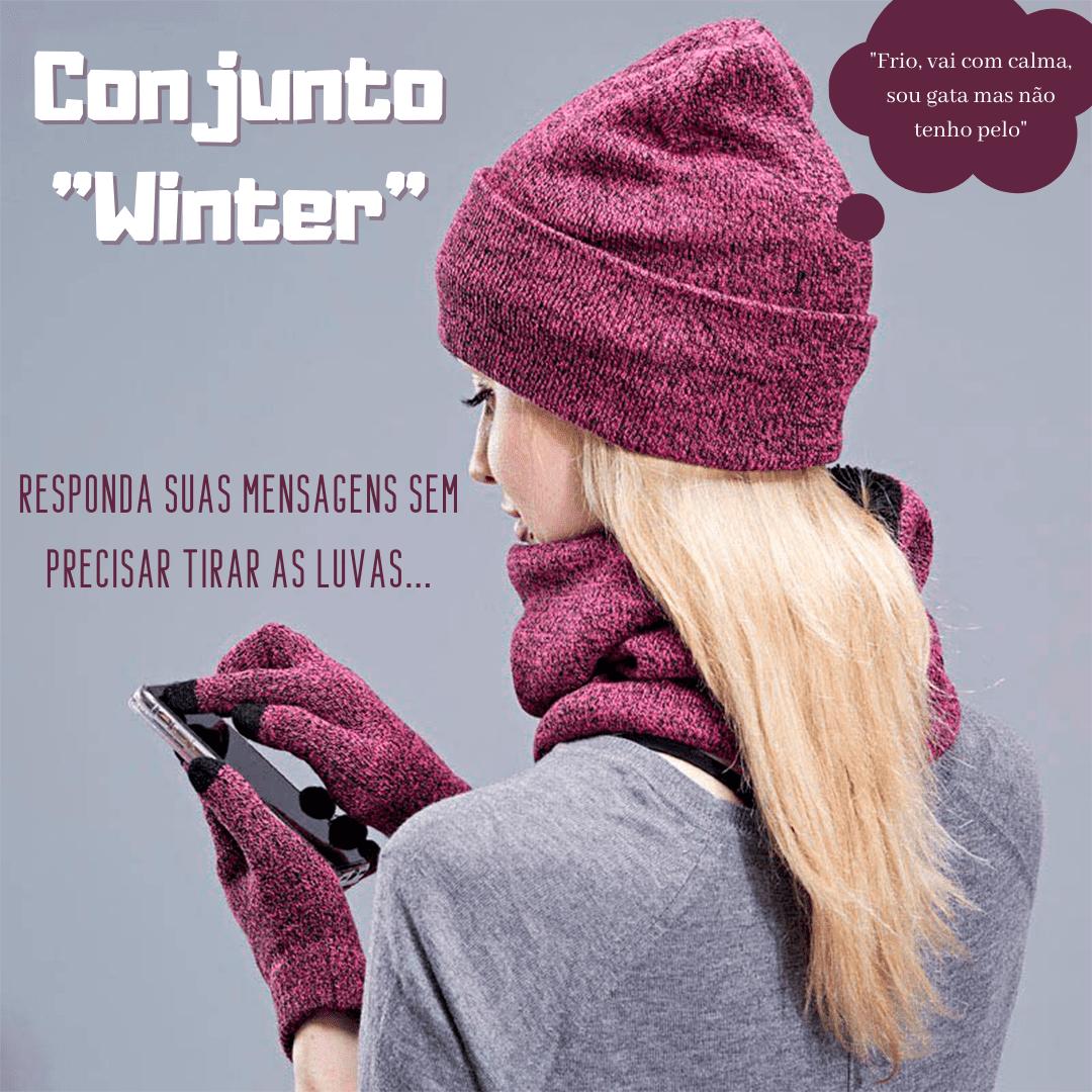 Conjunto de luvas, touca e cachecol para o inverno - moda inverno