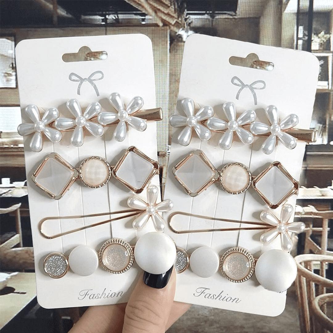 Conjunto de Tiaras e Presilhas de Pérolas 6 peças - Pearl