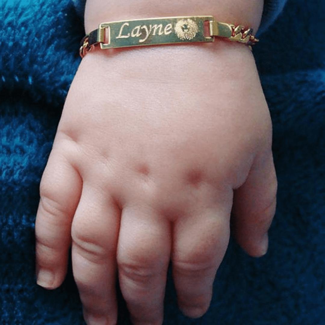 Pulseira Infantil Personalizável - My Baby banhada a ouro e feita de aço inoxidável