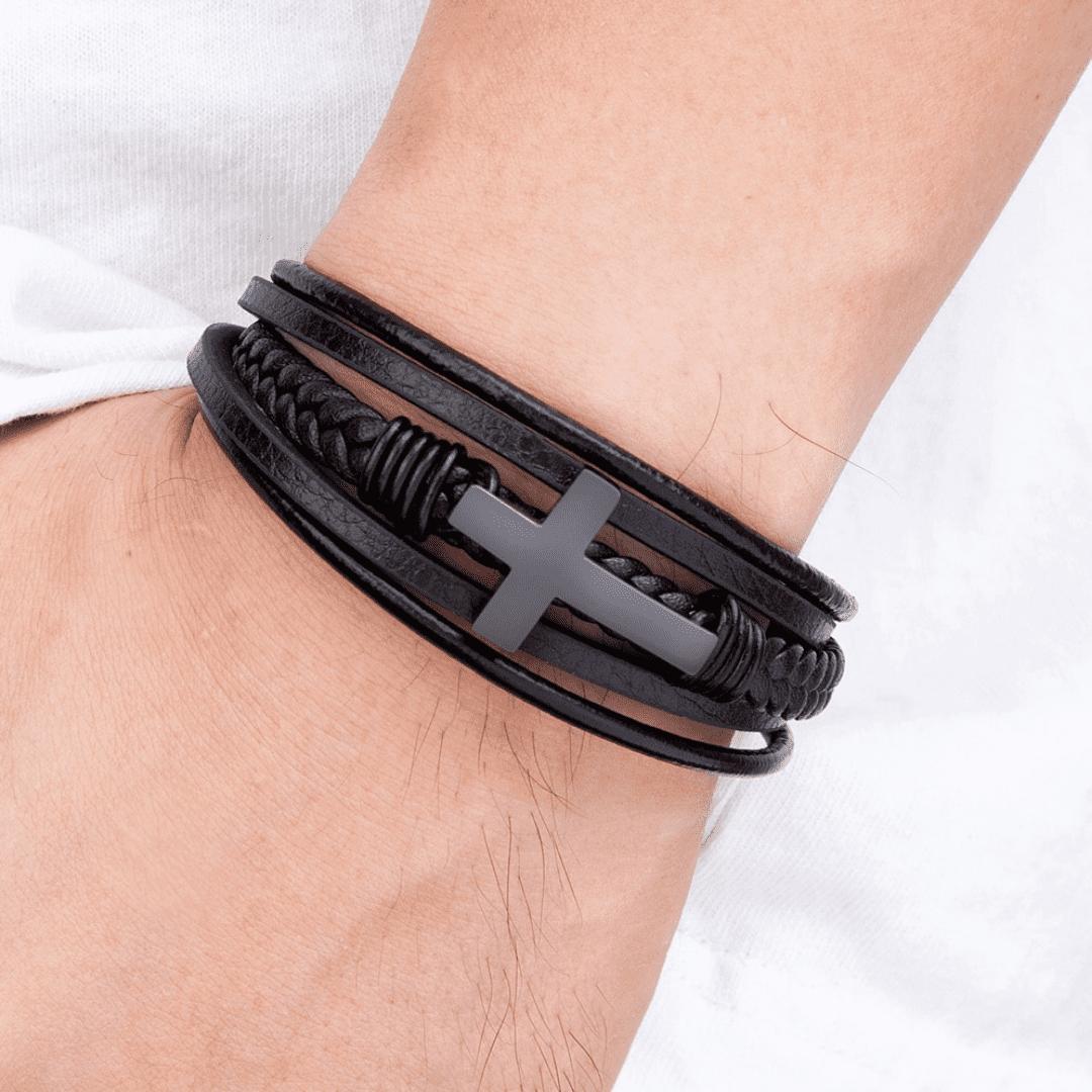 Pulseira Masculina de Couro com cruz - Christ Style