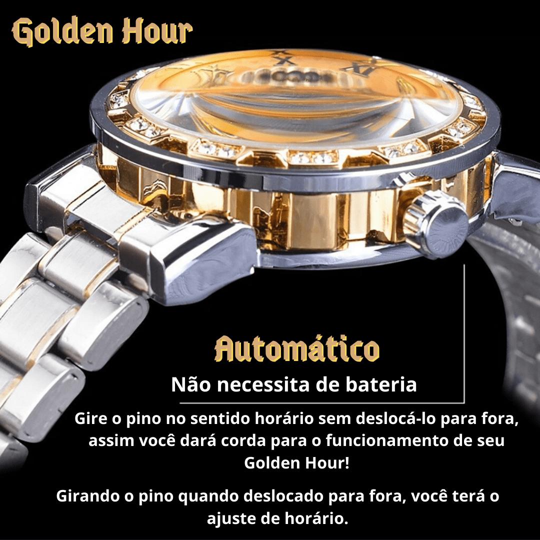 Relógio clássico detalhes banhados a ouro