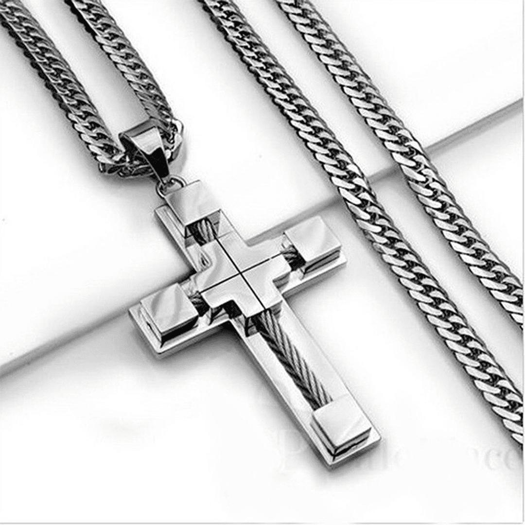 corrente com crucifixo aço inoxidável