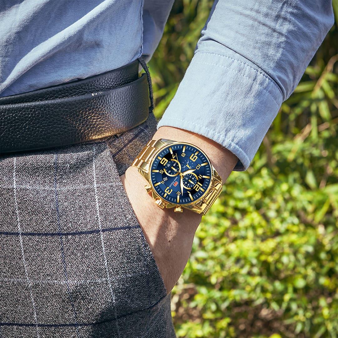 Relógio masculino dourado barato de alta qualidade