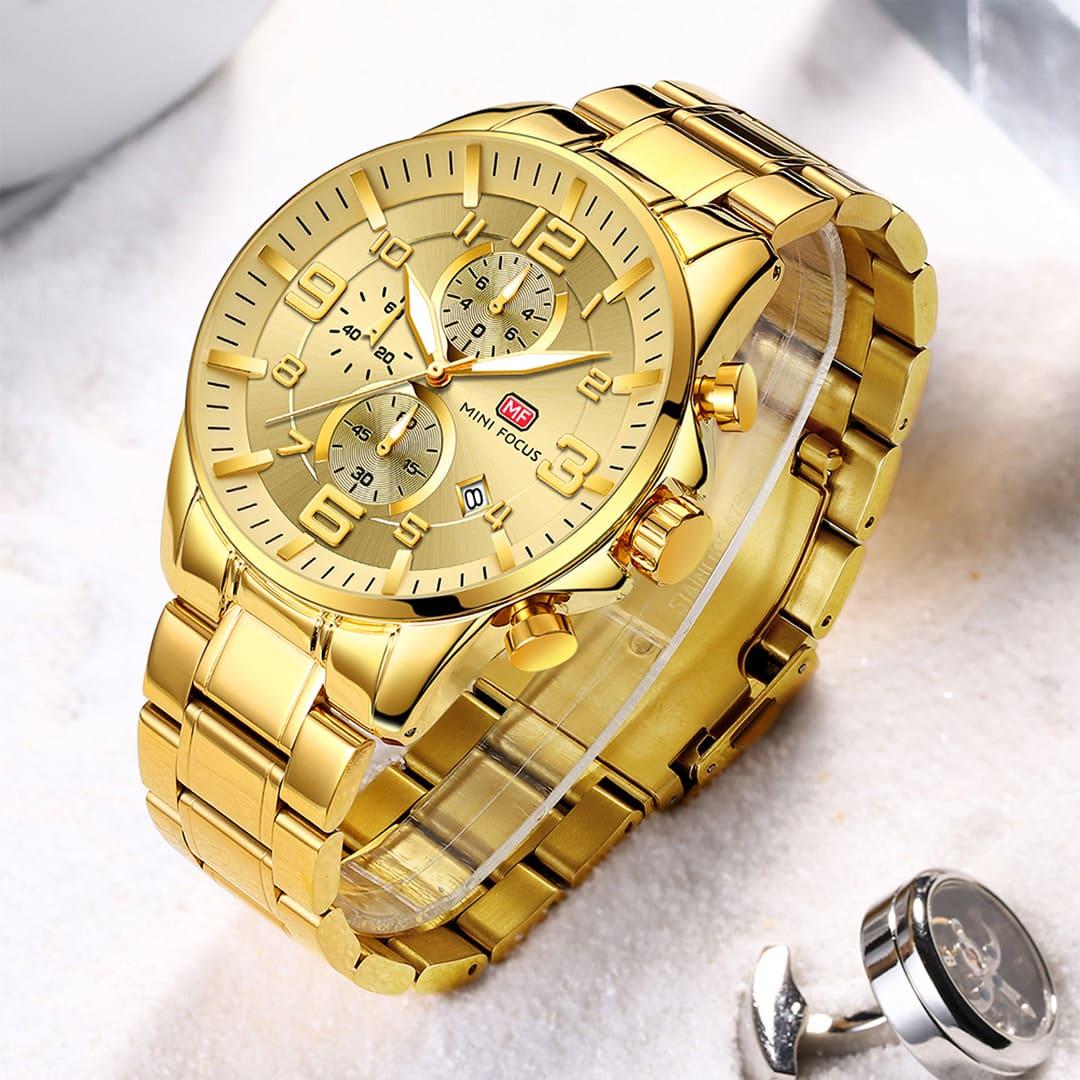relógio dourado masculino de luxo barato
