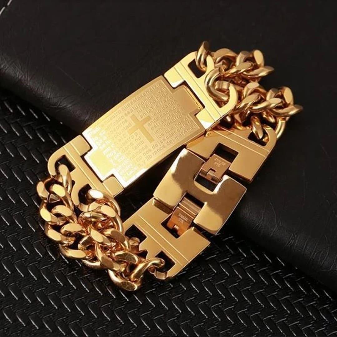 Pulseira masculina de luxo banhada a ouro com cruz