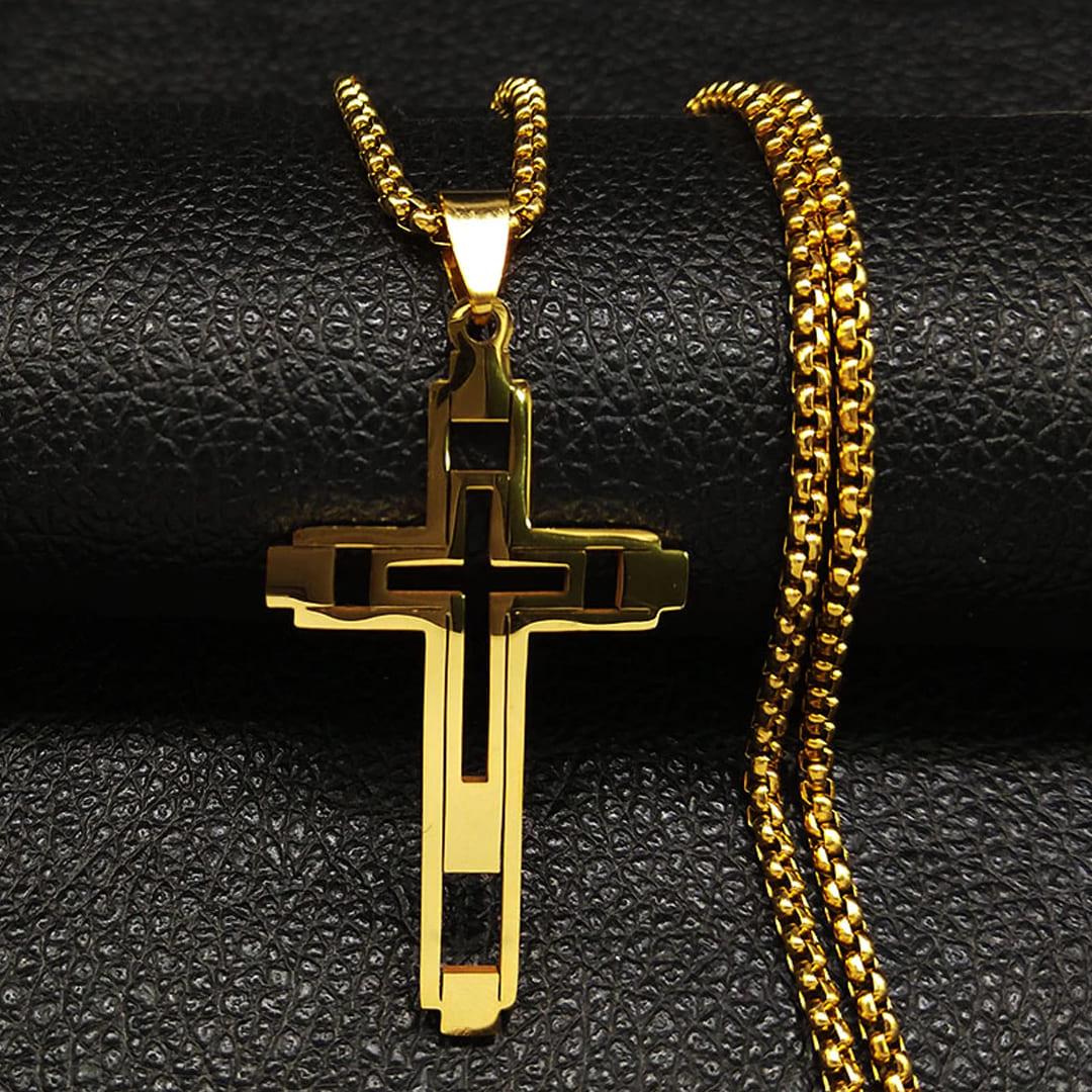 colar com cruz masculina