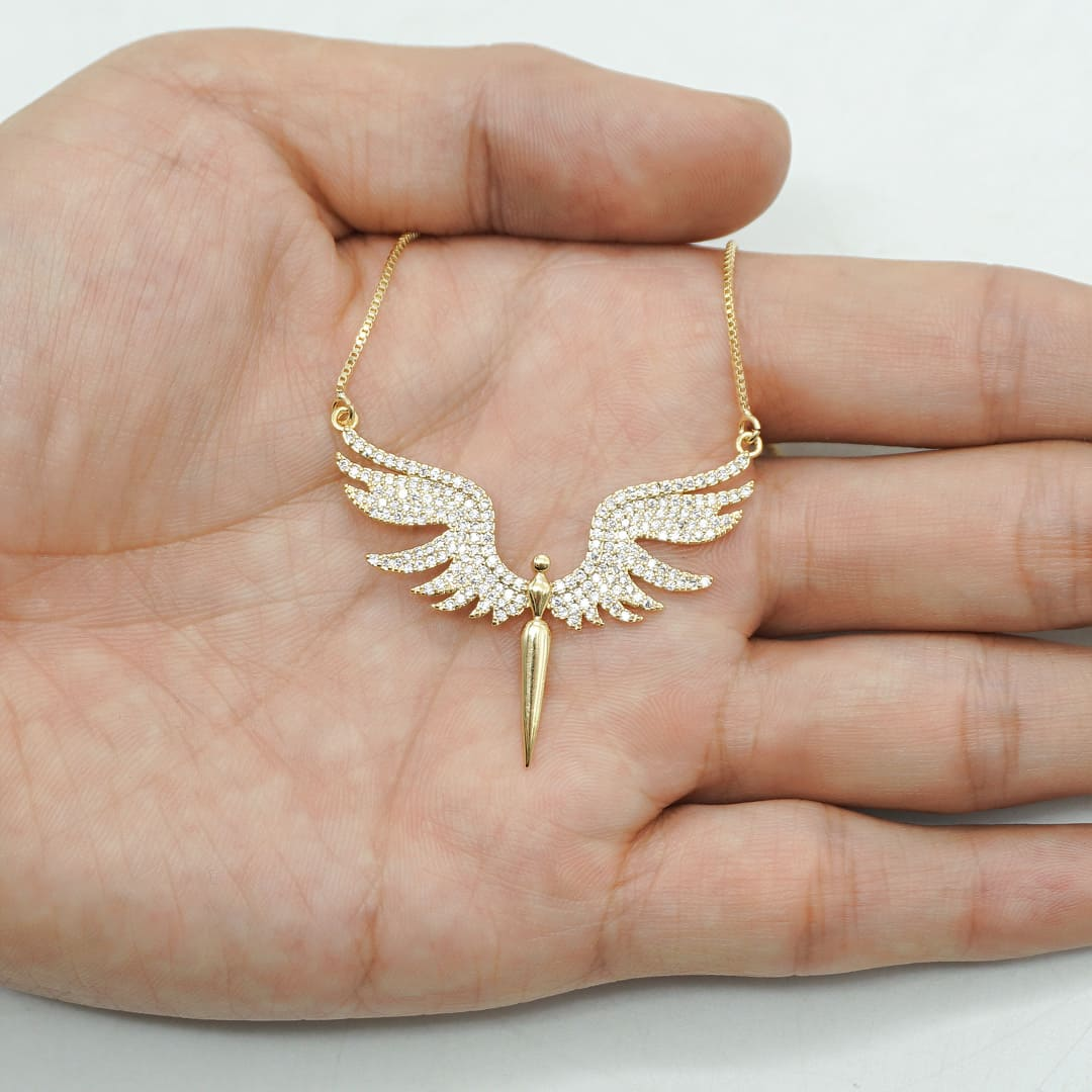 Colar anjo feminino com zircônias