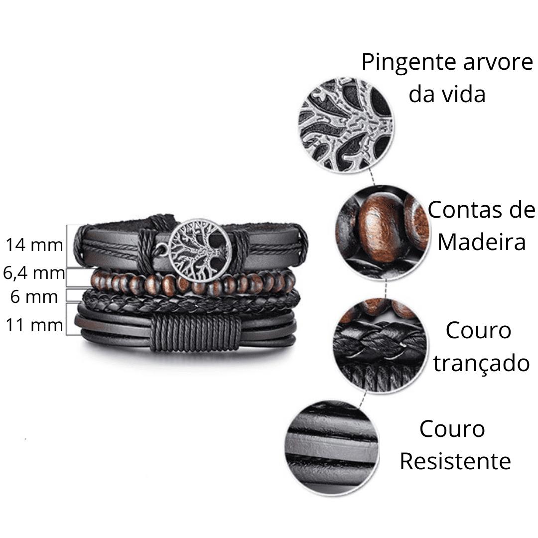 kit pulseira de couro masculina
