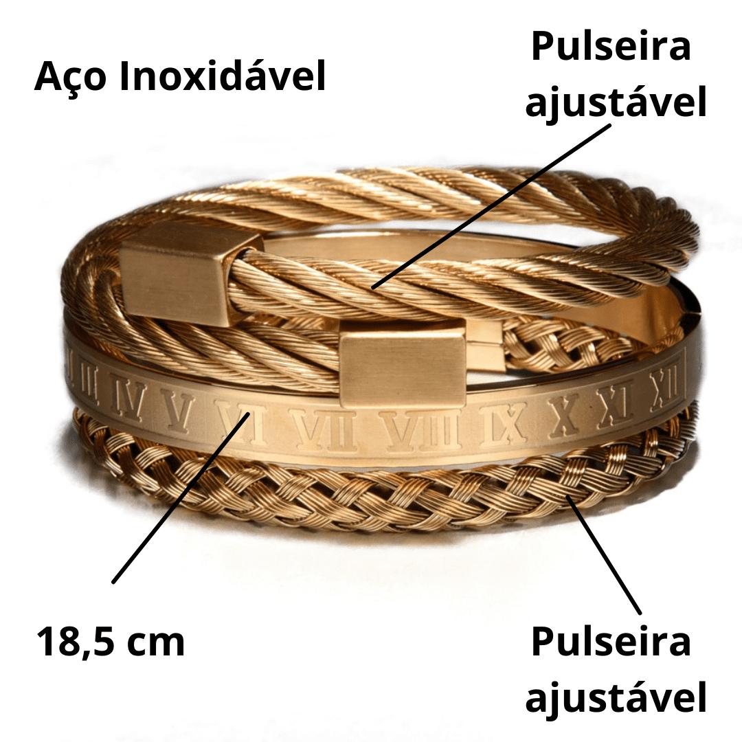 Conjunto Pulseiras de Luxo Ouro Romano