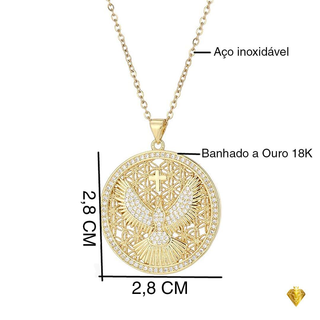 Amuleto Santíssima Trindade - Banhado a Ouro 18K