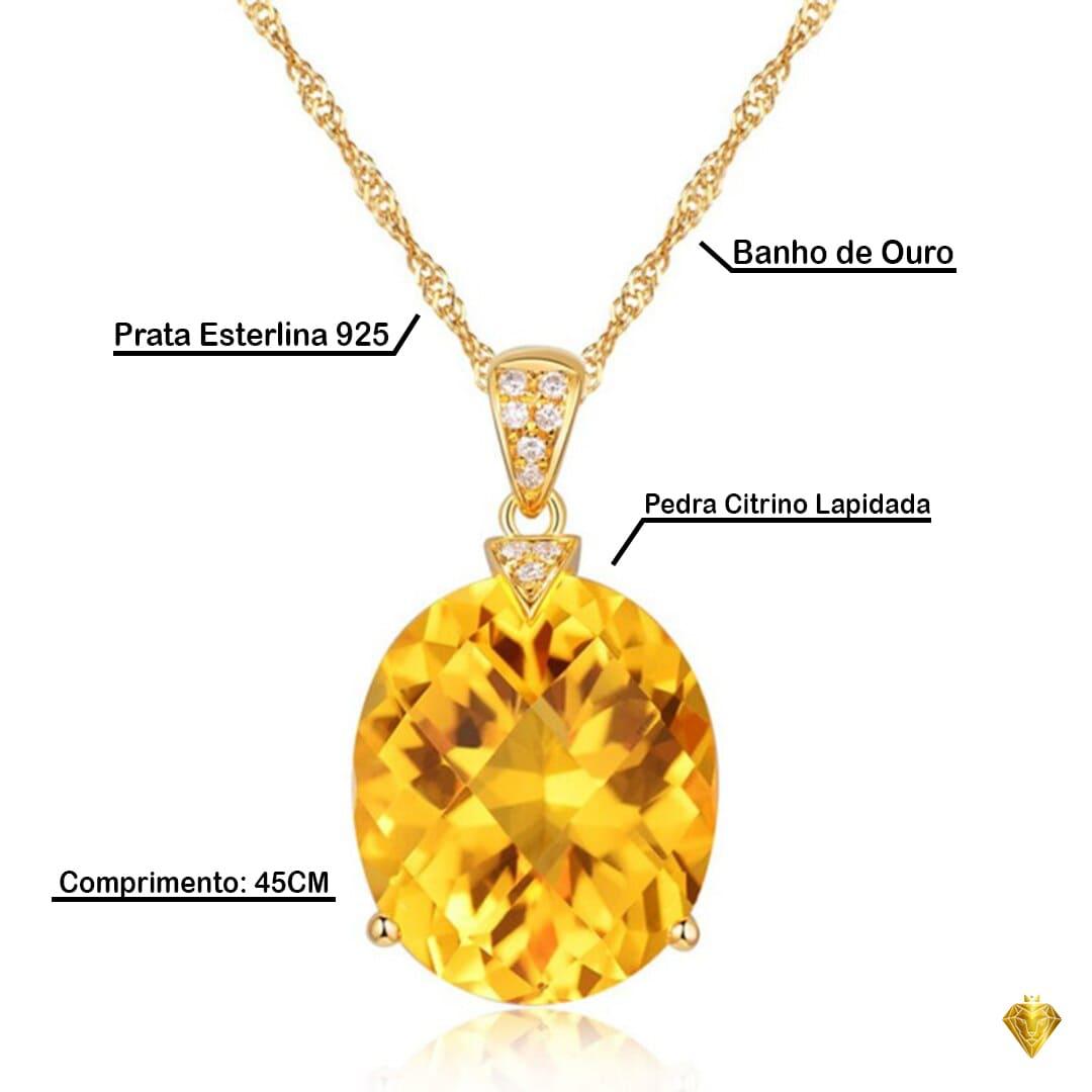 Amuleto Cristal Solar – Prata Esterlina 925 e Banho de Ouro – Colar Feminino – Colar banhado a Ouro – Quartzo Citrino