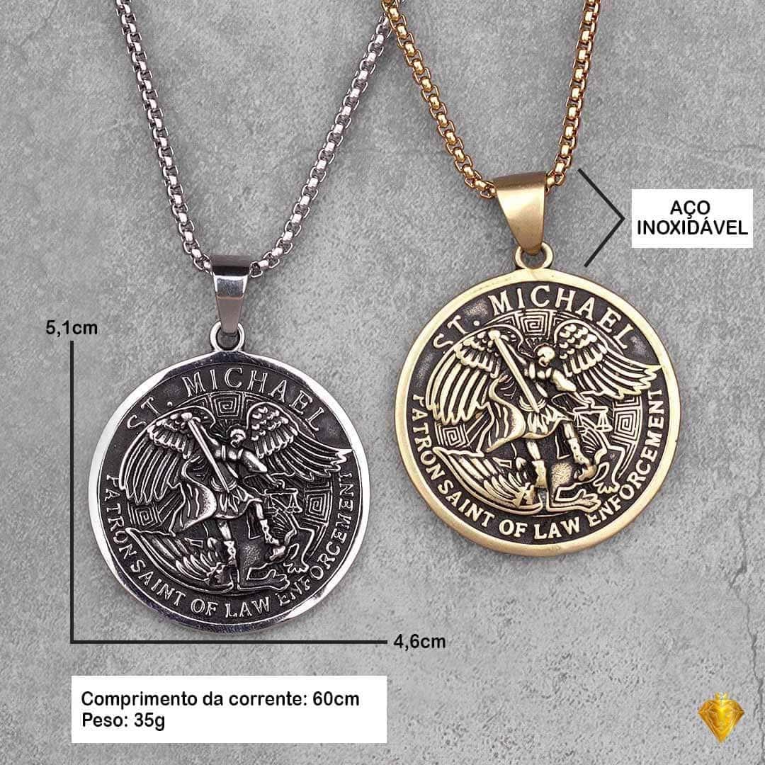 Corrente Masculina em Aço Inoxidável com pingente do Brasão do Príncipe São Miguel Arcanjo em Ouro e Prata.