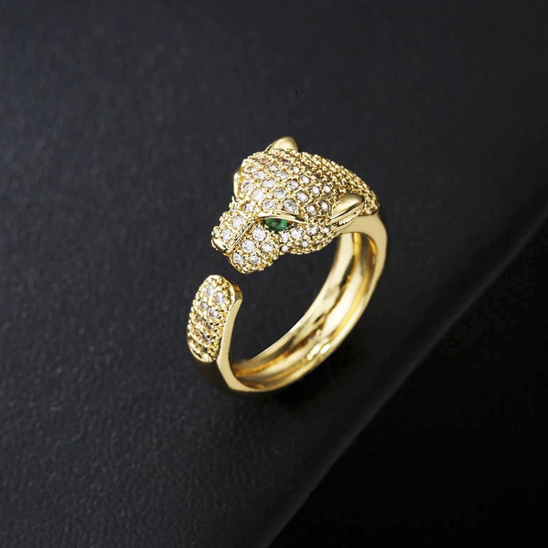 anel de leopardo ajustável feminino