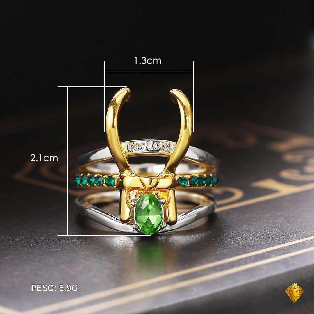 Anel Feminino Loki; Conjunto de anéis; Anel de zircônia; Loki Laufeyson; Tom Hiddleston.