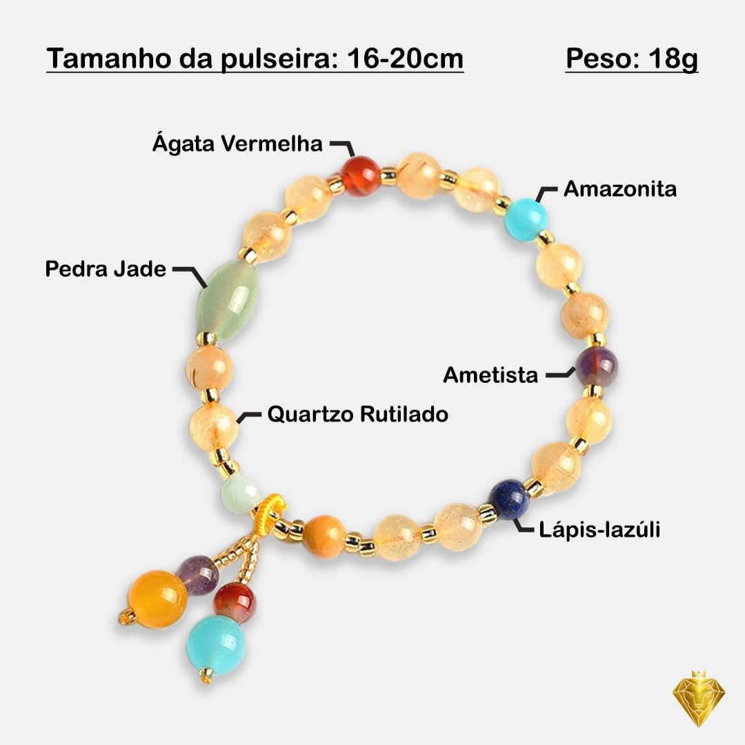 Pulseira Terapêutica em Pedras Naturais – Aura; Pedras Naturais Terapêuticas; Quartzo rutilado; Ágata Vermelha; Lápis-lazúli; Ametista; Jade; Amazonita; Reiki; Meditação.