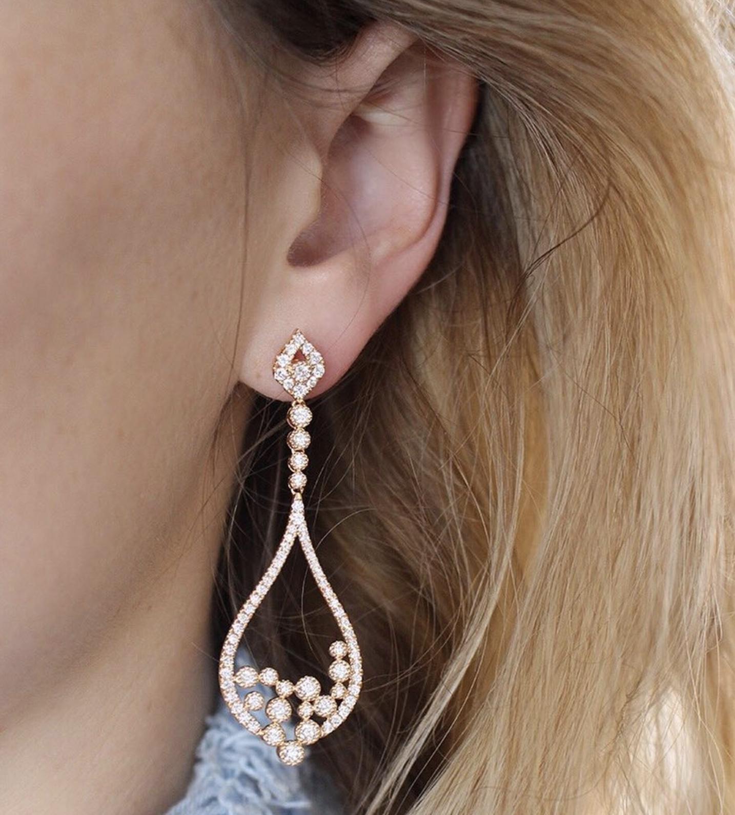 Sara Weinstock Jewelry - Brut Overflow Earrings - 18k gold and White Diamonds