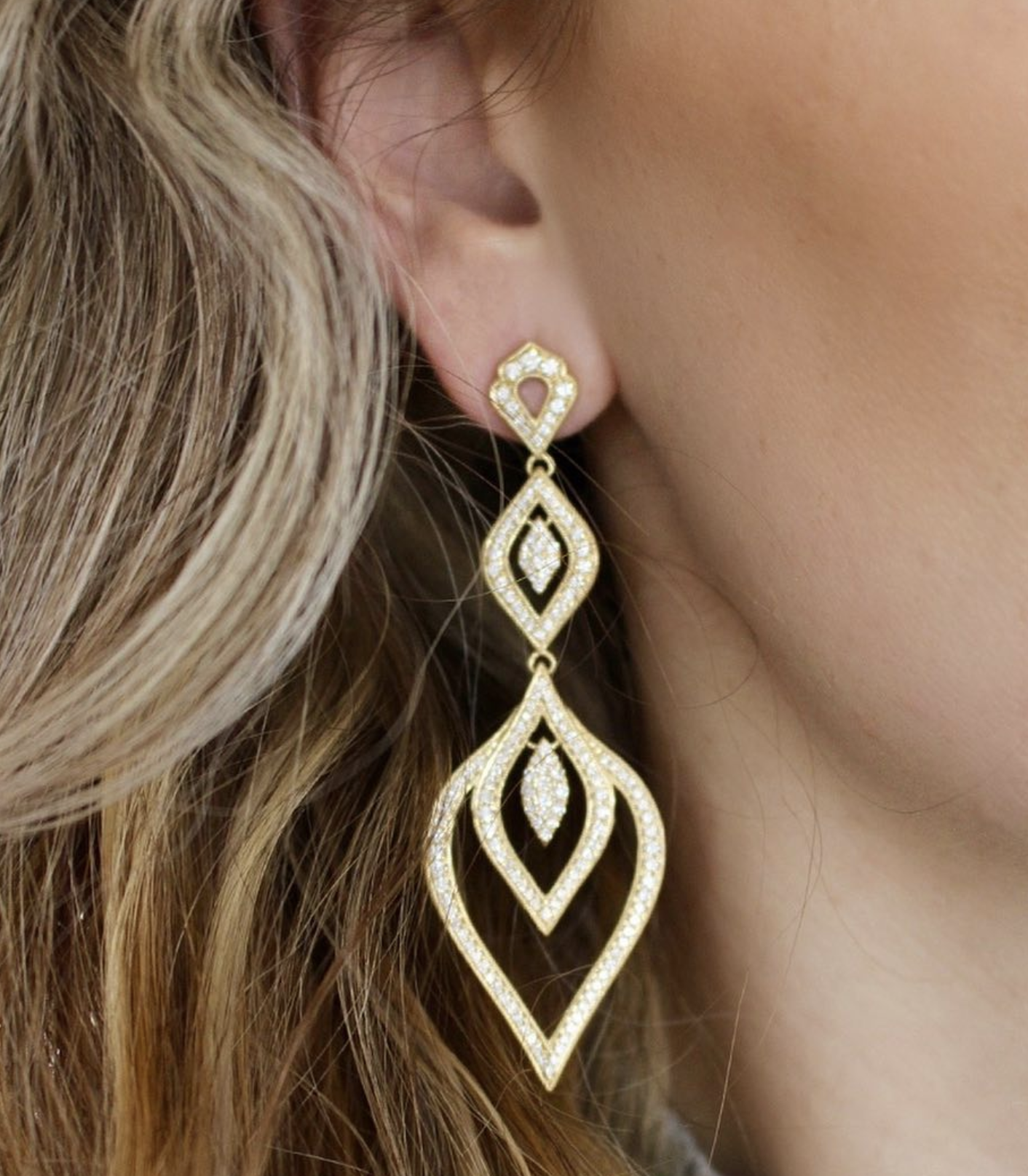 Sara Weinstock Jewelry - Donna Pave Marquis Chandelier Earrings