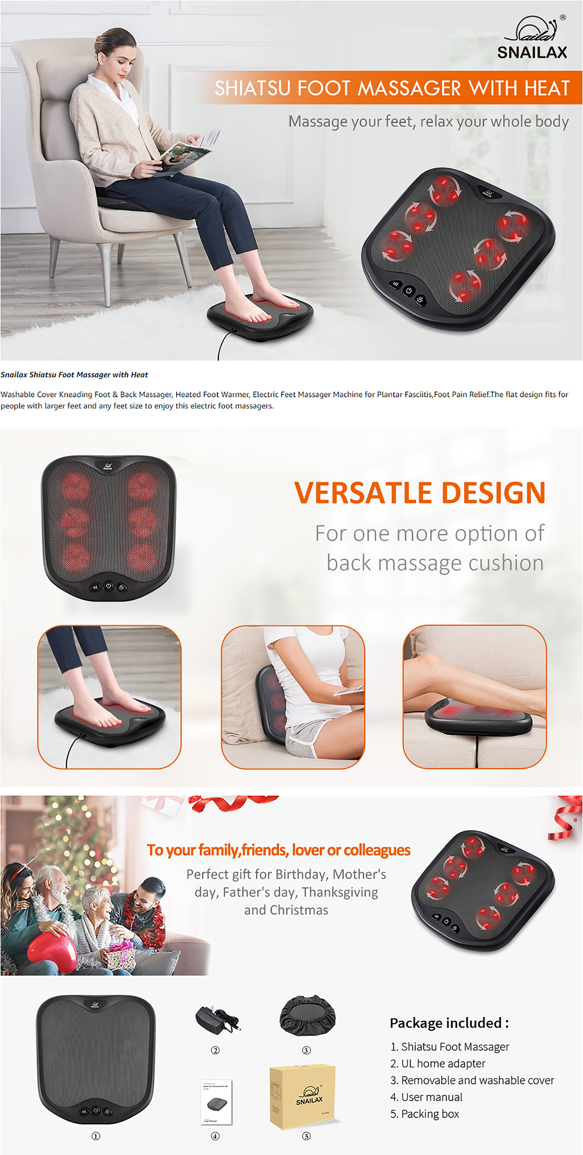Kneading Foot & Back Massager Features