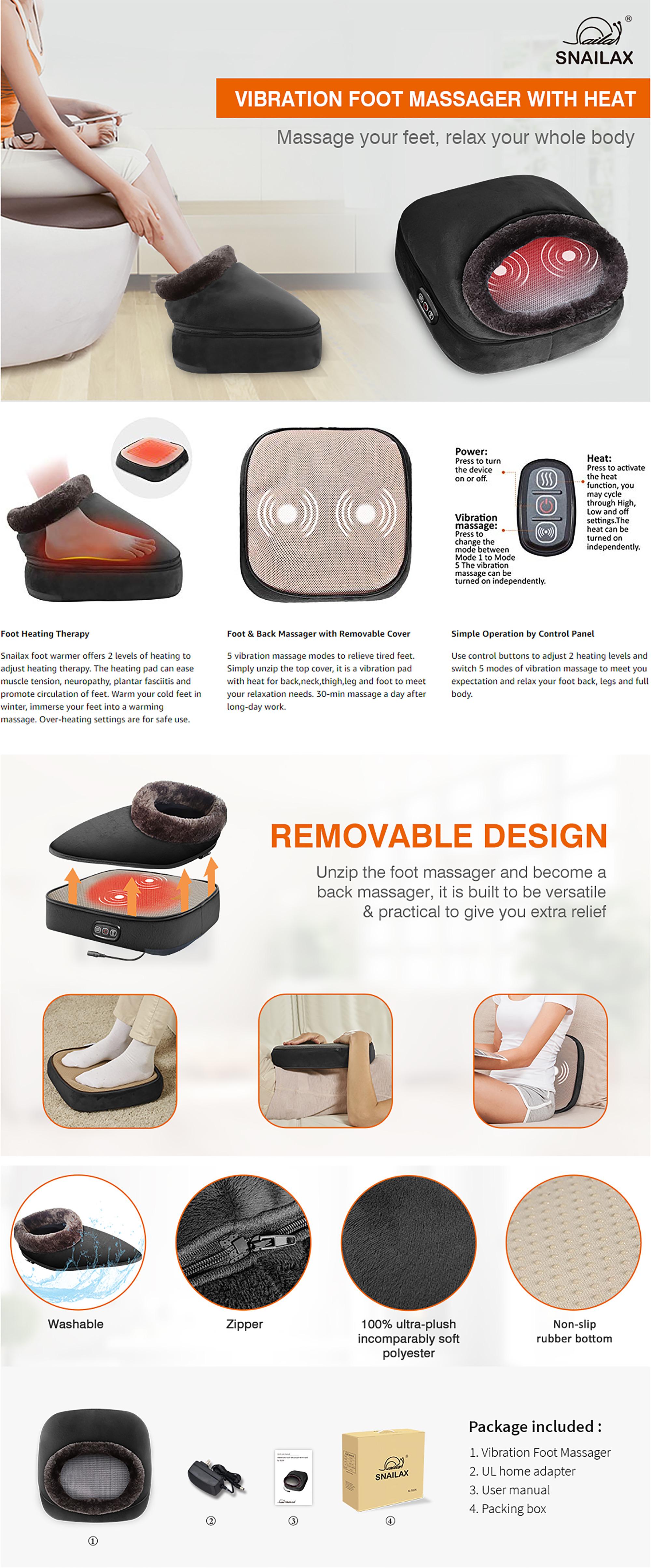 Snailax Foot Warmer & Back Massager Features