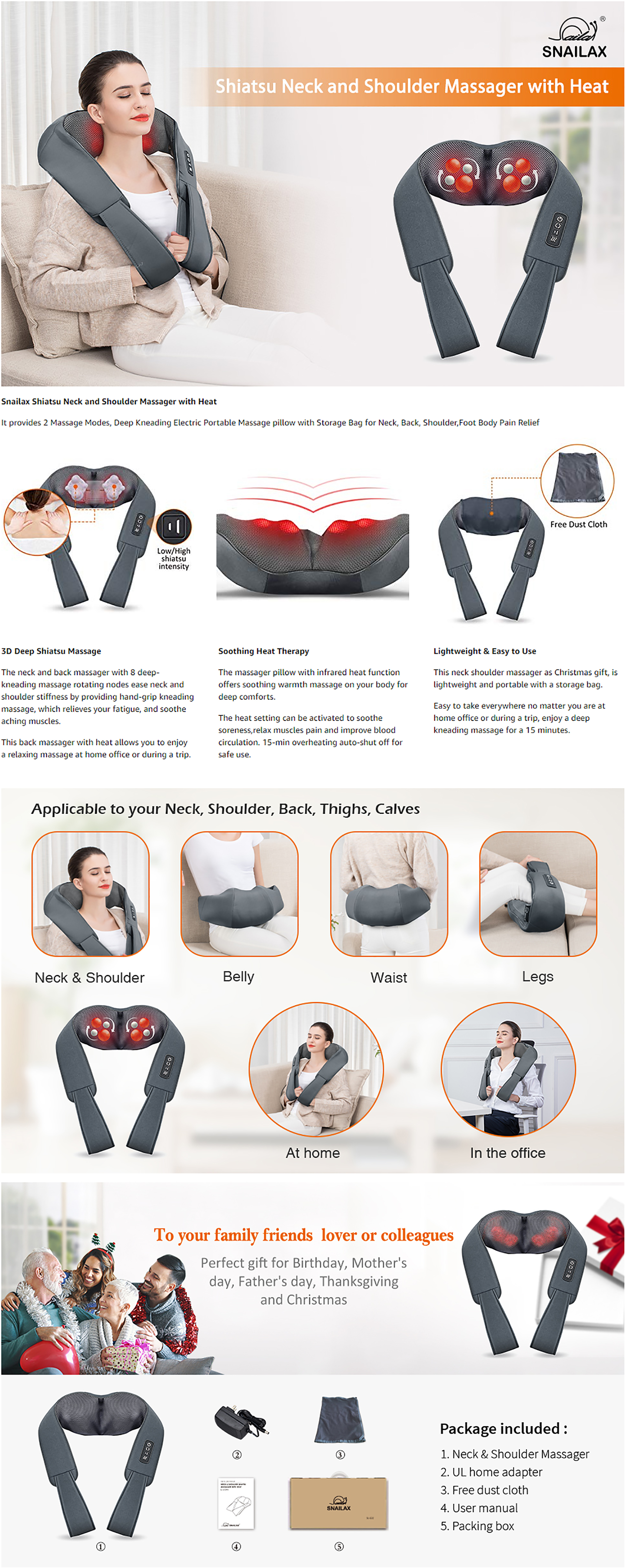 Snailax Electric Shiatsu Neck & Shoulder Massager Features