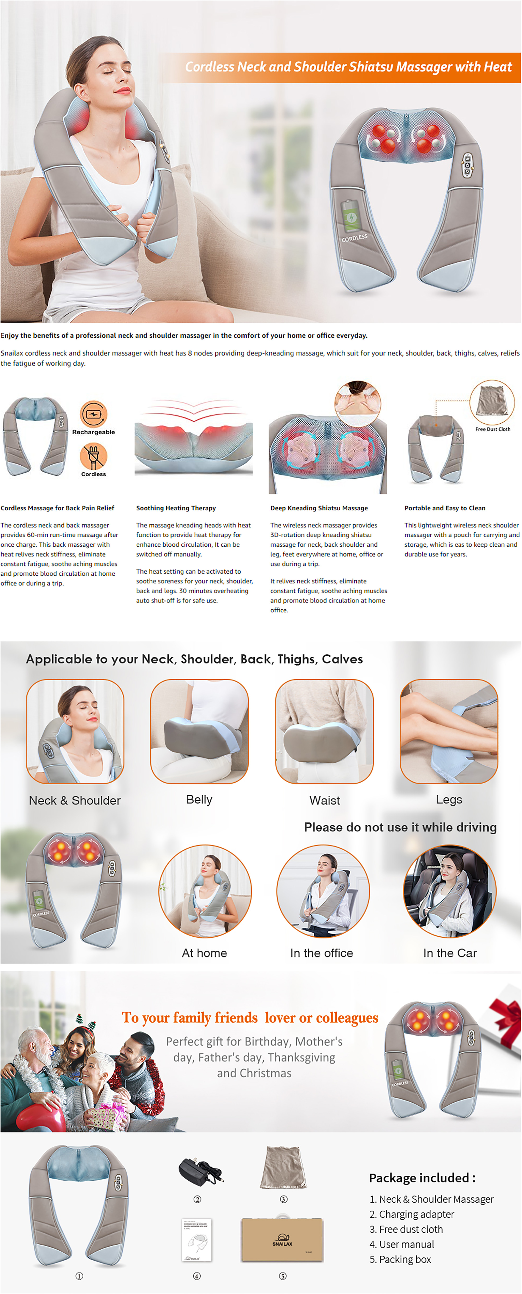 Snailax Wireless Shiatsu Neck & Shoulder Cordless Massager Features