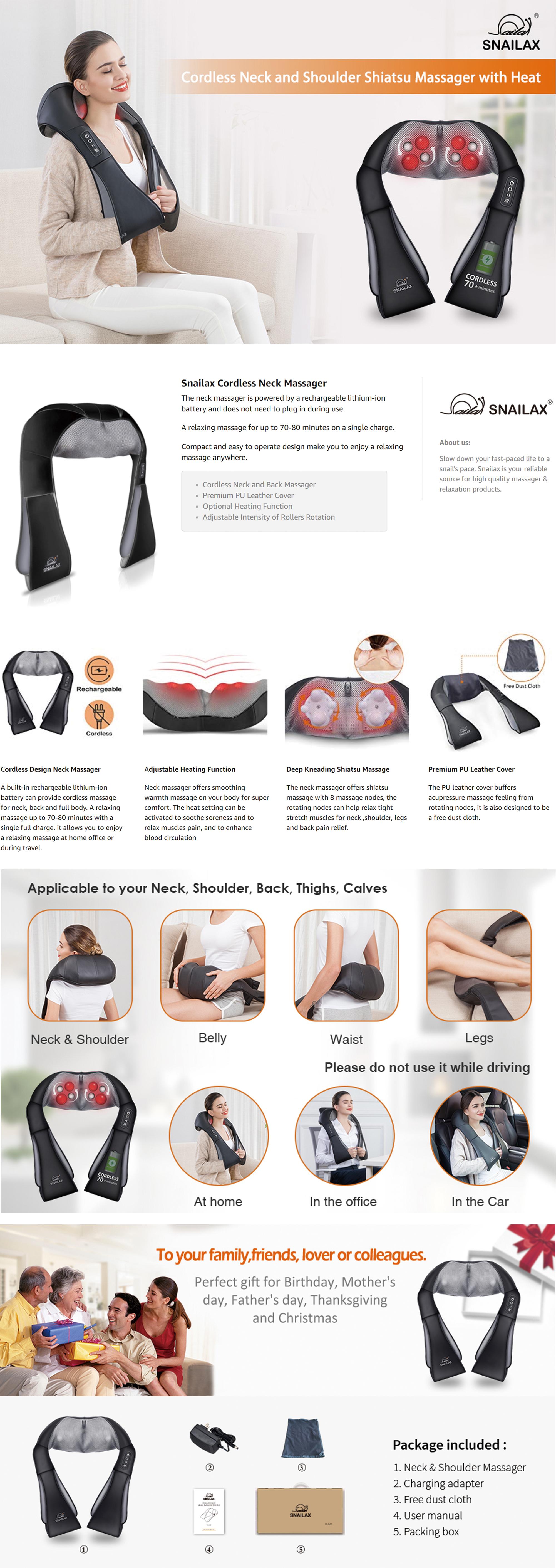 Snailax Shiatsu Cordless Portable Neck & Back Massager Features