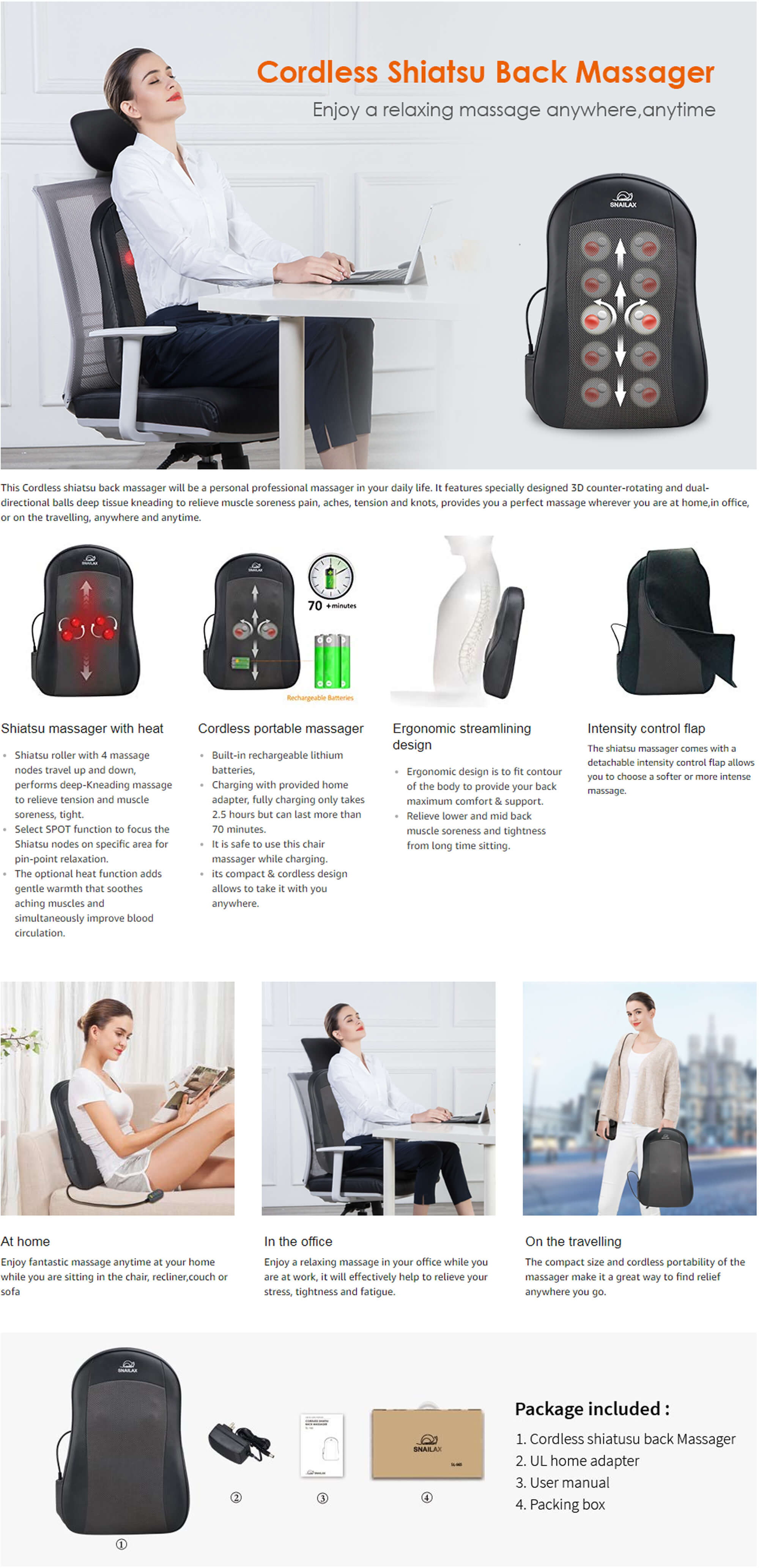 Cordless Back Massager Features
