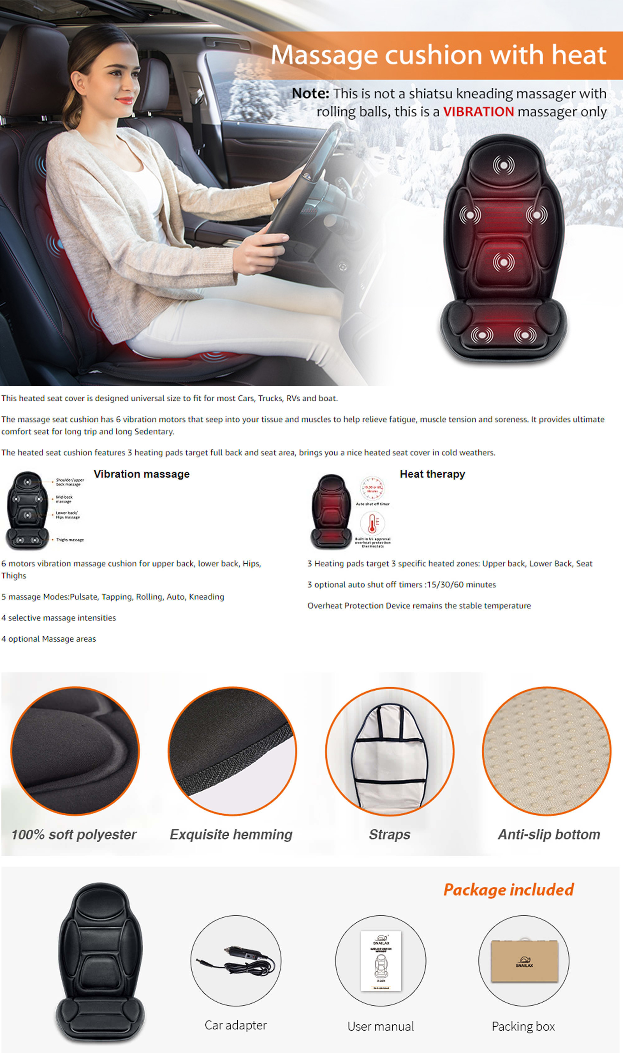 Snailax Car Seat Cushion With Heat Features