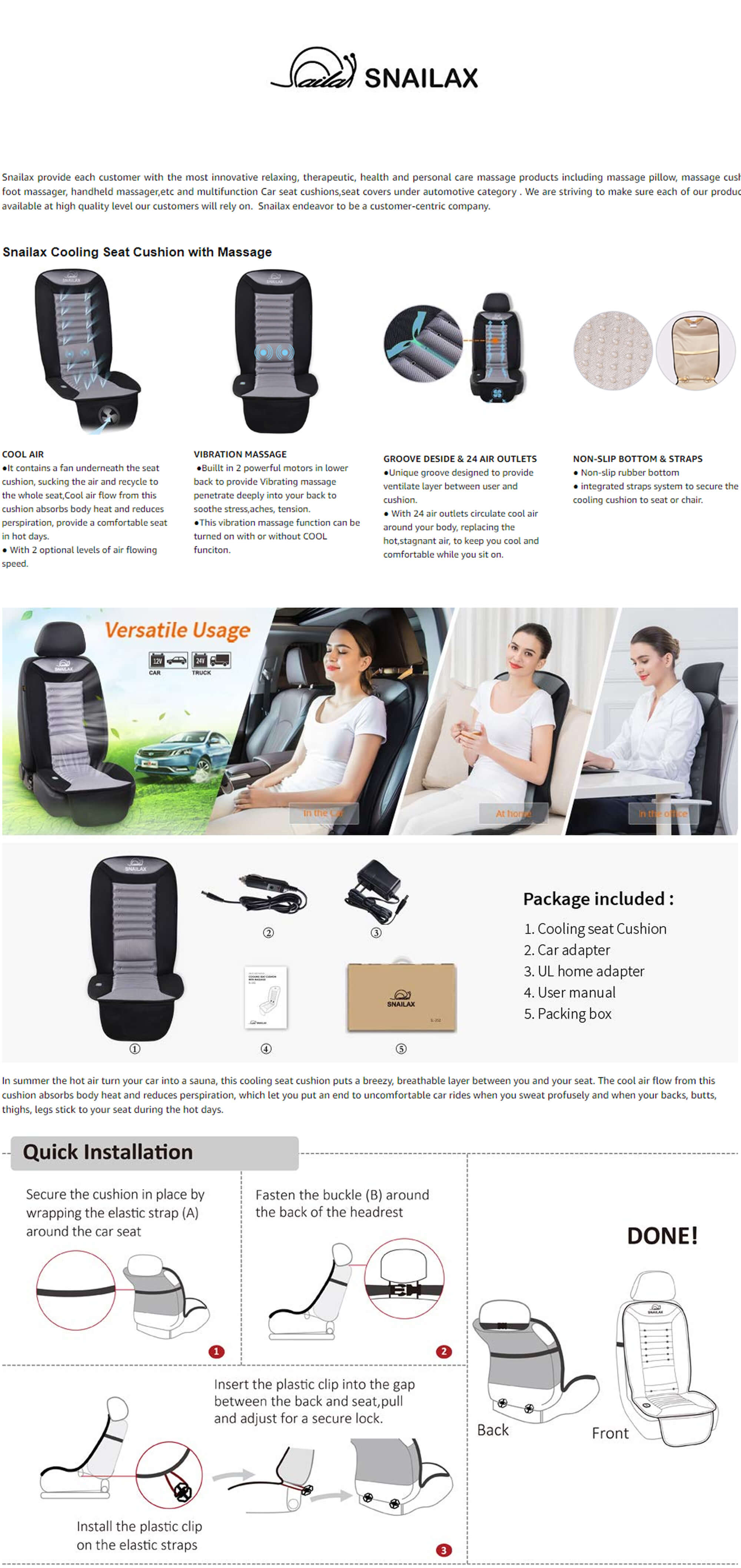 Snailax Cooling Car Seat Cushion Features